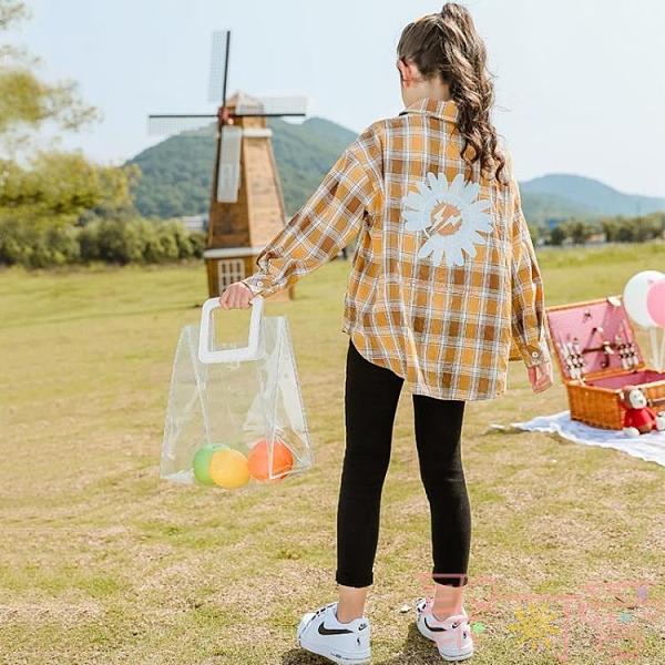 兒童襯衣秋裝休閒女童格子襯衫外套上衣薄款【聚可愛】