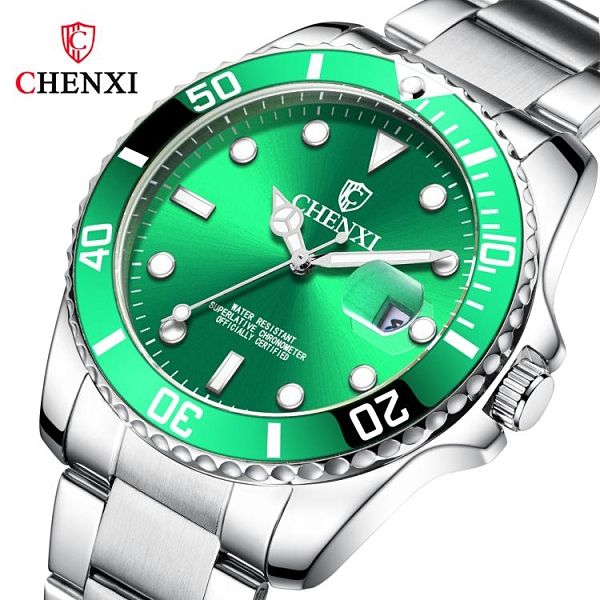 男士手錶 時尚潮牌手錶男士CHENXI情侶手錶 抖音爆款夜光綠水鬼手錶女士 俏俏家居