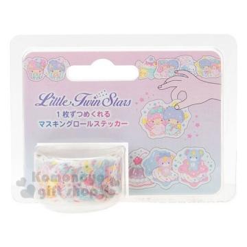 〔小禮堂〕雙子星 日製造型貼紙紙膠帶《粉藍.標籤貼.裝飾貼》