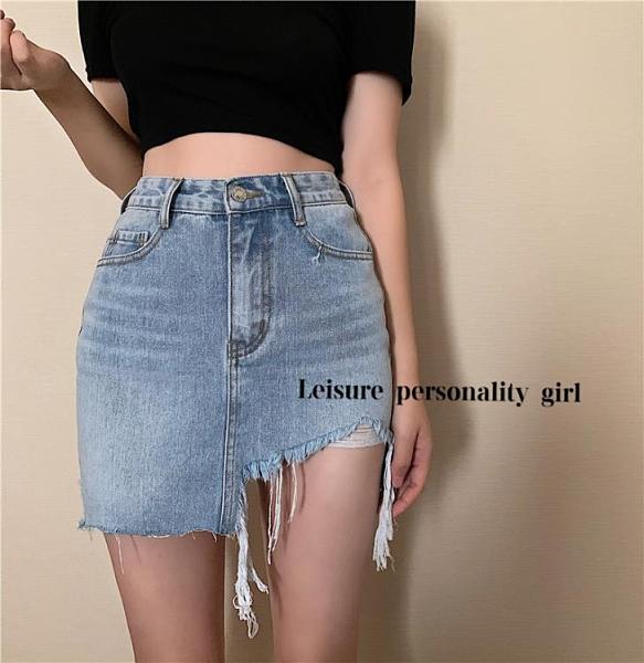 牛仔裙 LGGSTYLE chic風復古洗水不規則磨毛邊半身高腰牛仔短裙女高腰
