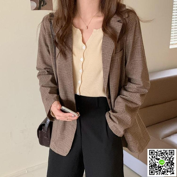 新品促銷 西裝套裝女秋季款2020新款韓版氣質寬松顯瘦百搭長袖格子外套上衣