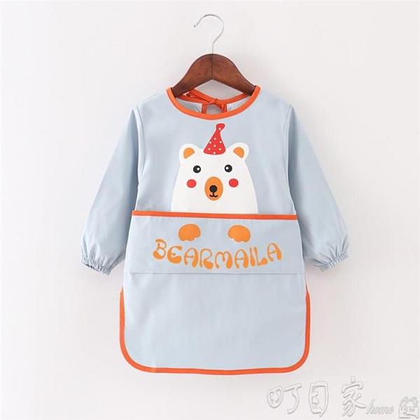 寶寶吃飯反穿衣兒童圍裙長袖防水防汙繪畫罩衣衣服男女童畫畫護衣