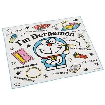 哆啦A夢 日製 便當包巾 餐巾 桌墊 手帕 桌巾 棉質 43x43cm (藍白 道具)