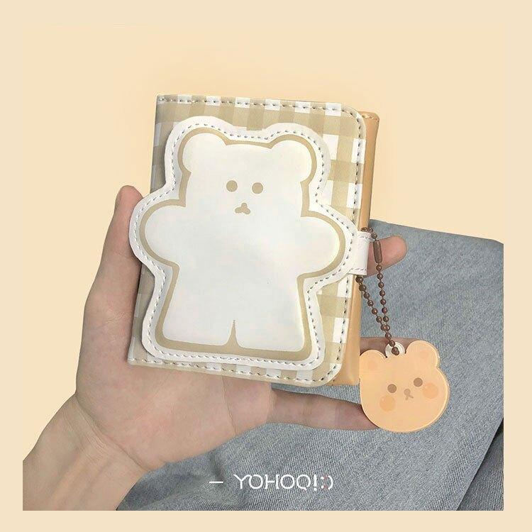YOHOO!/原創chic日韓 小熊錢包卡通女短款零錢包按扣式三折PU卡包