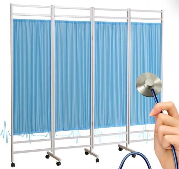 醫院用屏風可摺疊行動推拉帶輪隔斷布藝簾按摩美容院診所客廳摺屏qm 向日葵