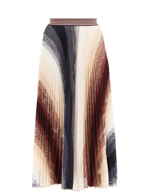 Missoni - Pleated Abstract-jacquard Knit Midi Skirt - Womens - Burgundy Multi