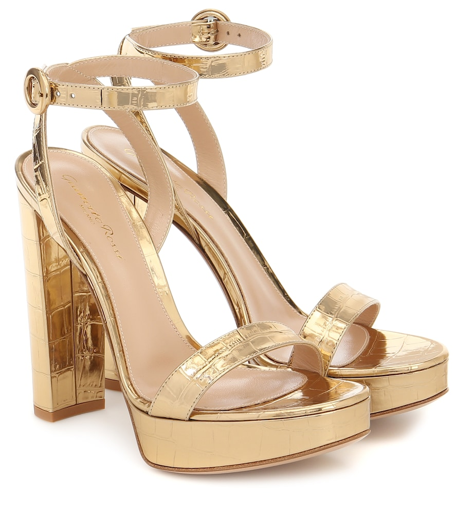 Poppy croc-effect leather sandals