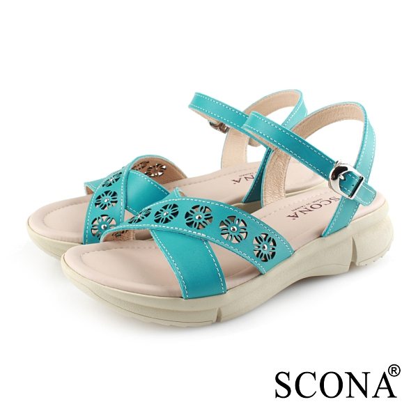 SCONA 蘇格南 真皮 簡約交叉雷射舒適涼鞋 水藍色 31065-1