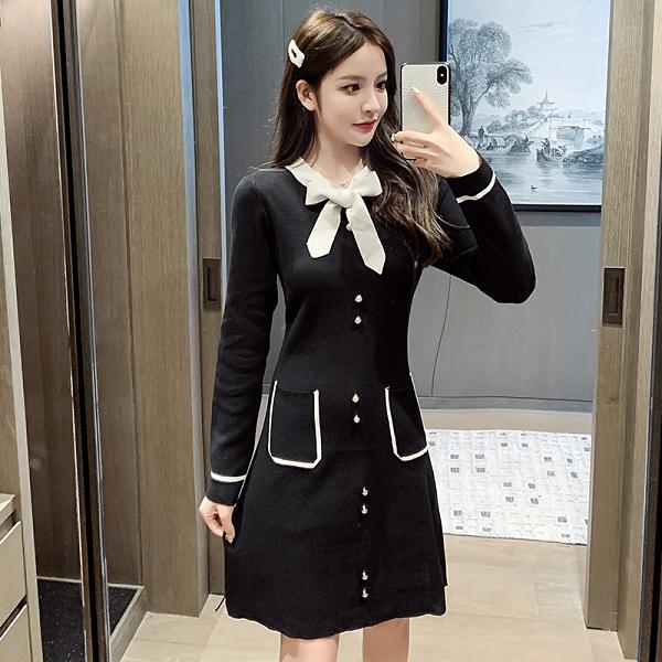 VK旗艦店 韓國風撞色蝴蝶結珍珠扣針織寬鬆顯瘦口袋設計長袖洋裝