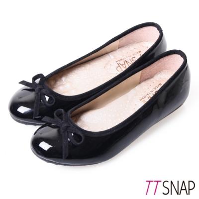 TTSNAP娃娃鞋-MIT蝴蝶結亮面小羊漆皮平底鞋 黑