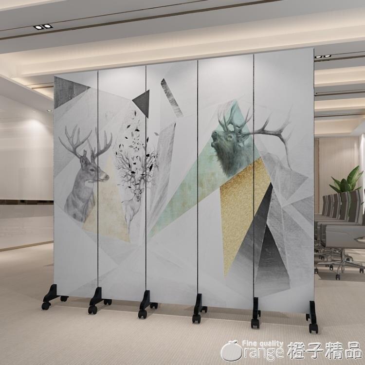 屏風隔斷牆裝飾客廳酒店折疊行動辦公室簡約現代雙面LOGO定制折屏