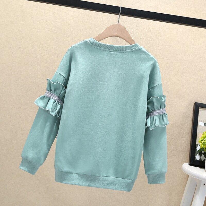 女童T恤長袖秋裝新款秋冬加絨兒童打底衫棉大童衛衣上衣