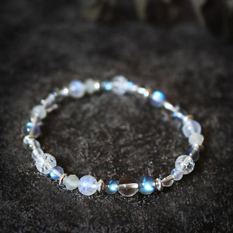 天然石系列捌 拉長石 月光石 白水晶 925純銀 手鍊 /守護愛情/