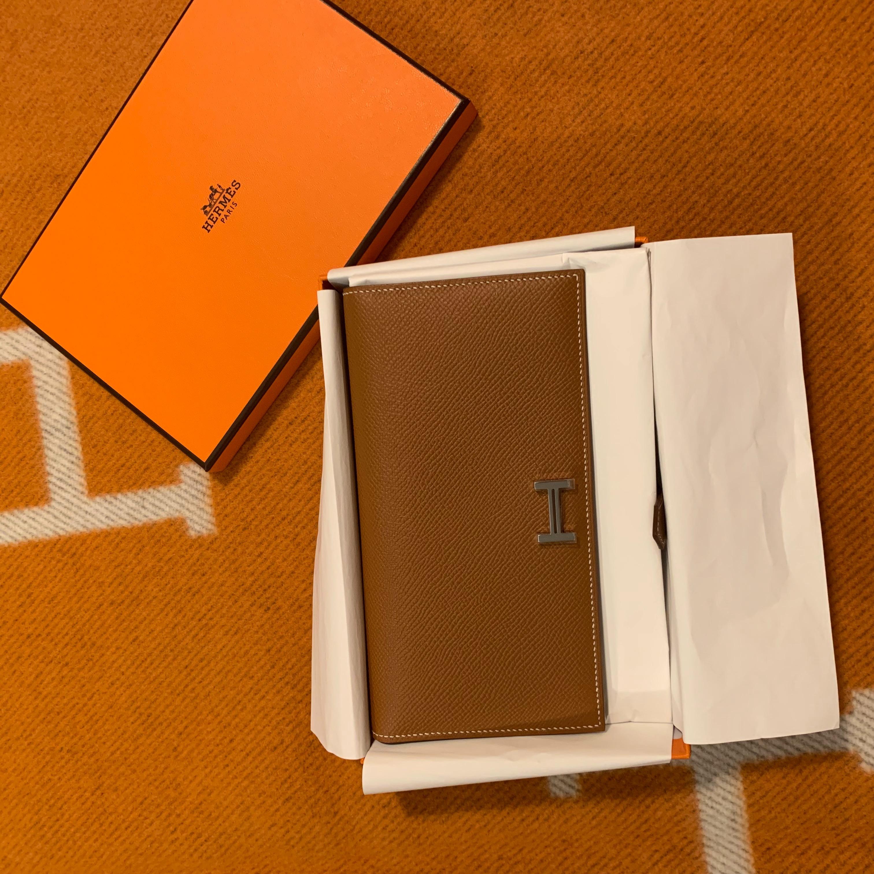 Hermes 愛馬仕 bearn長款金棕色銀扣長夾厚款epsom皮 配貨好價71500/個 台灣售92000 up