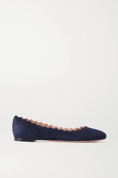 Chloé - Lauren 扇贝边绒面革芭蕾平底鞋 - 海军蓝 - IT35