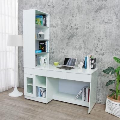 Birdie南亞塑鋼-5尺多功能L型收納電腦書桌(三抽一門二格書桌+桌上置物櫃)(白色)-150x60x196cm