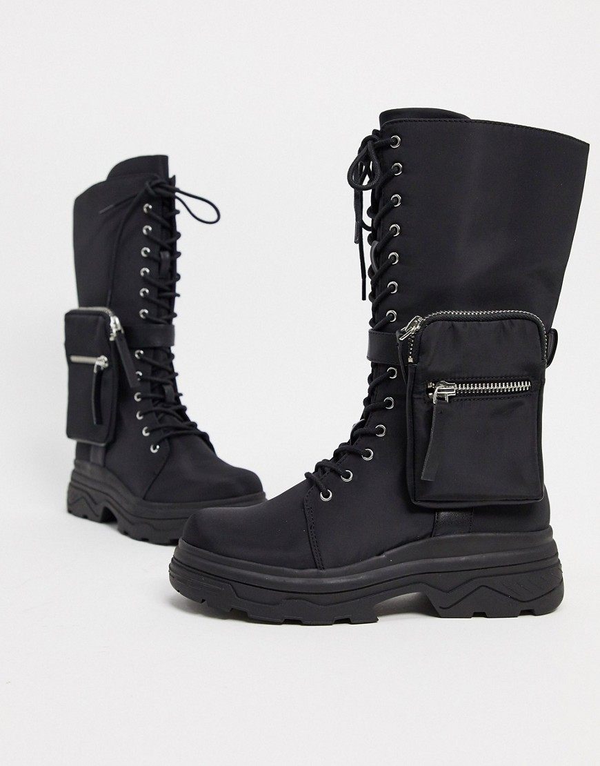 ASOS DESIGN Active sporty boots with bag-Black