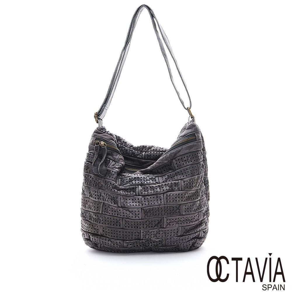OCTAVIA8 真皮風洞方型拼接牛皮沖孔肩背斜背二用包 - 石灰 廠商直送 現貨