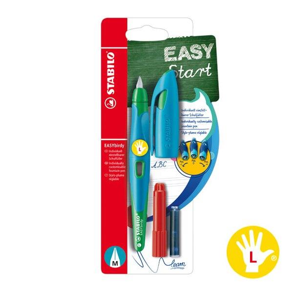 618購物節STABILO 德國 思筆樂 EASYbirdy 扭扭鋼筆組 (附卡式墨水管+吸墨器)M尖 左手筆 天空藍草綠色 / 組 B-53292-3