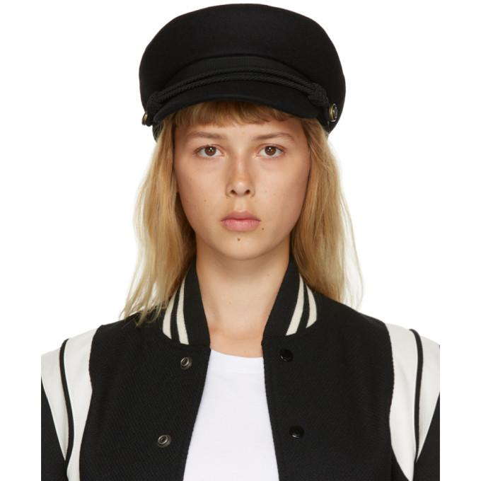 Saint Laurent 黑色毛毡水手帽