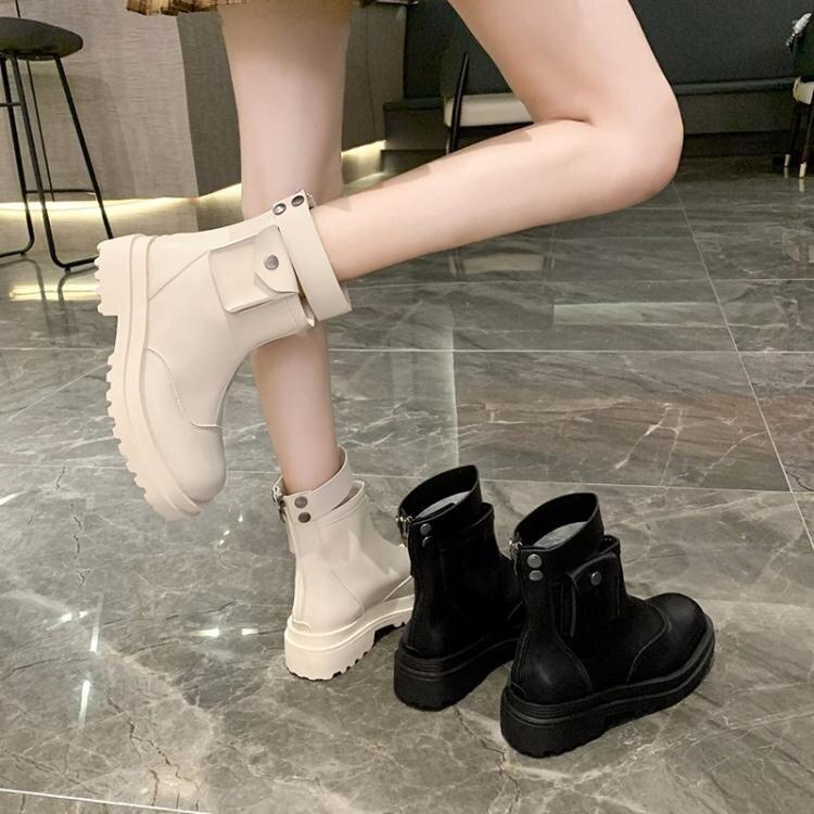 短靴 英倫風短筒馬丁靴女2020夏季新款百搭薄款透氣顯腳小厚底休閒短靴 女神節樂購