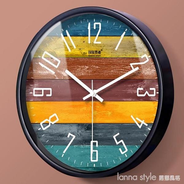 北歐創意木紋大號靜音掛鐘現代時尚歐式客廳個性臥室石英時鐘錶 YTL 新品全館85折