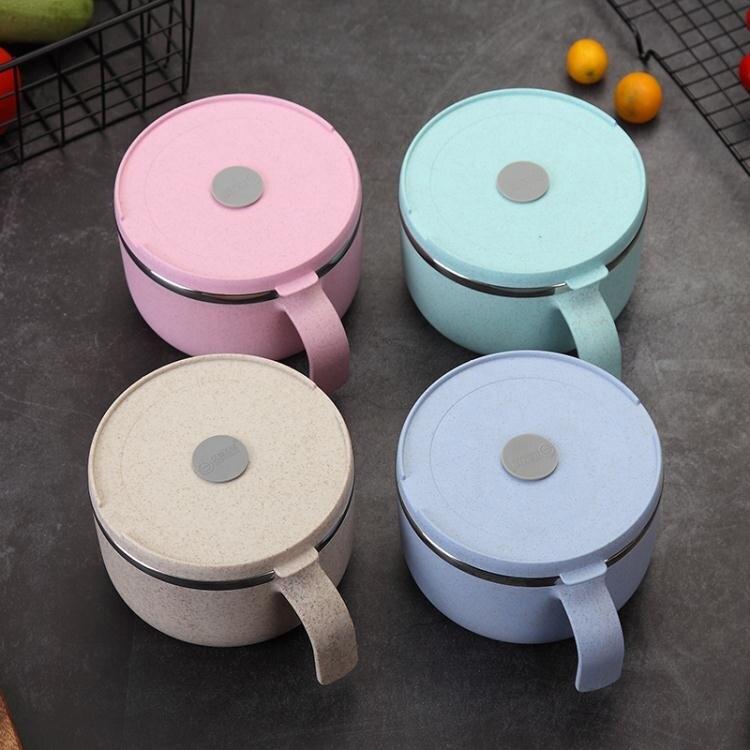 泡麵碗 簡約304不銹鋼泡面碗方便面碗帶蓋學生碗單個日式宿舍用碗筷套裝 清涼一夏钜惠