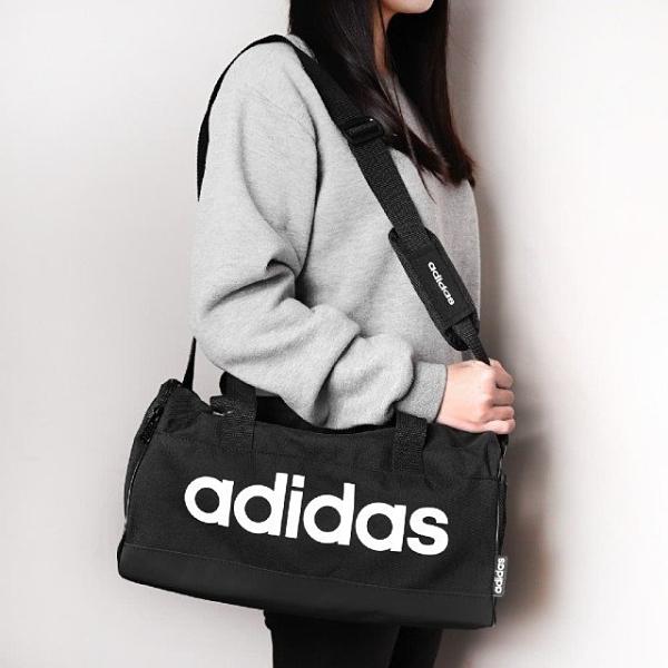 J- adidas LINEAR CORE DUFFEL 旅行袋 手提袋 健身 黑底白字 休閒包 大容量 FL3691