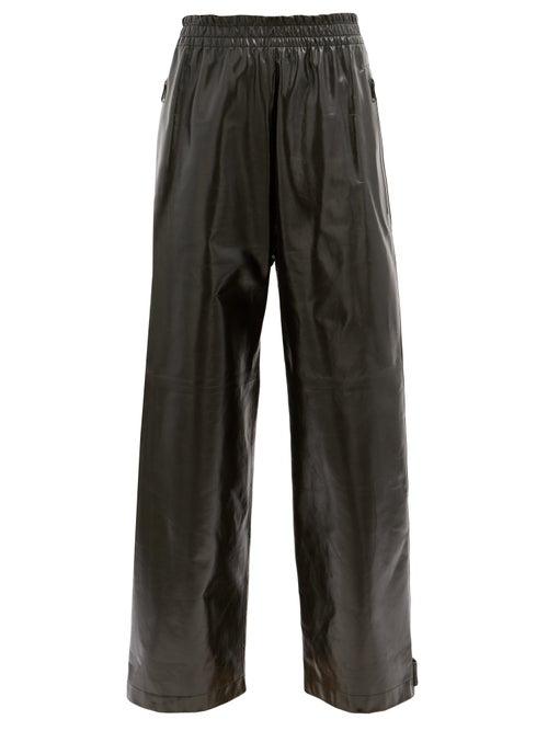 Bottega Veneta - Adjustable-cuff Leather Trousers - Womens - Black