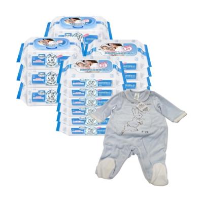 貝恩Baan 嬰兒保養柔濕巾80抽6入+20抽12入+奇哥 可愛小彼得兔裝-3M/6M