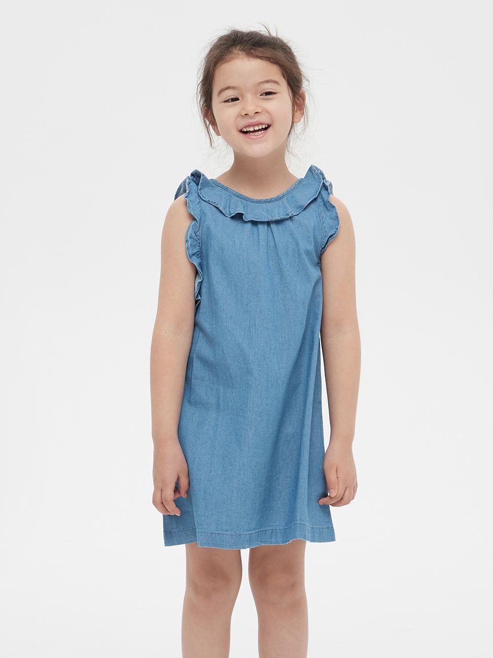 幼童 可愛荷葉邊無袖洋裝