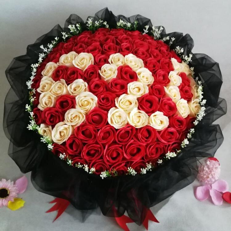 【快速出貨】生日禮物仿真創意玫瑰花束肥皂花送女友老婆99朵情人節香皂花禮盒 七色堇 雙12購物節