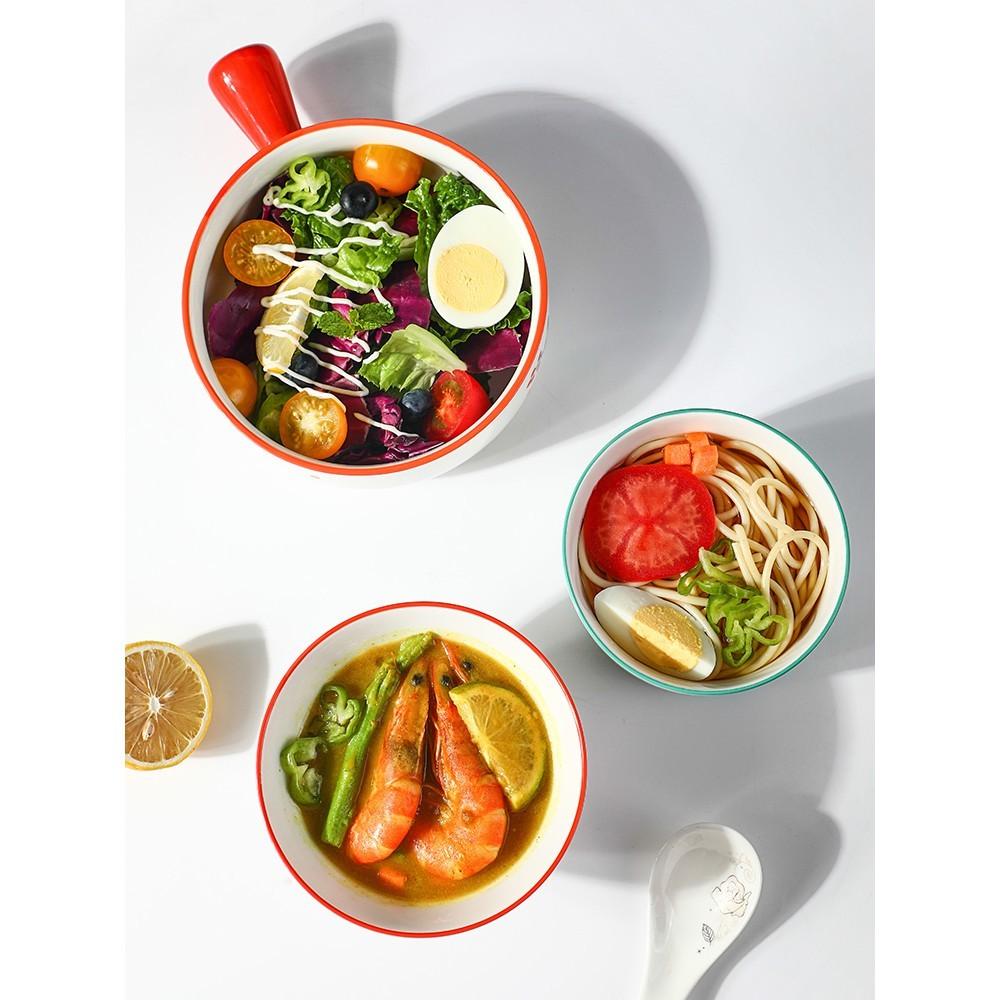 居家家陶瓷碗帶把手大號學生早餐泡面碗家用創意餐具可愛湯碗飯碗 -