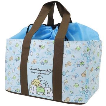 〔小禮堂〕角落生物 橫式尼龍束口保冷側背袋《綠棕.購物袋.野餐袋》