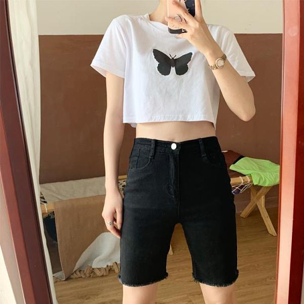 五分褲 黑色牛仔褲五分褲女夏緊身騎行褲顯瘦中褲高腰短褲-Milano米蘭