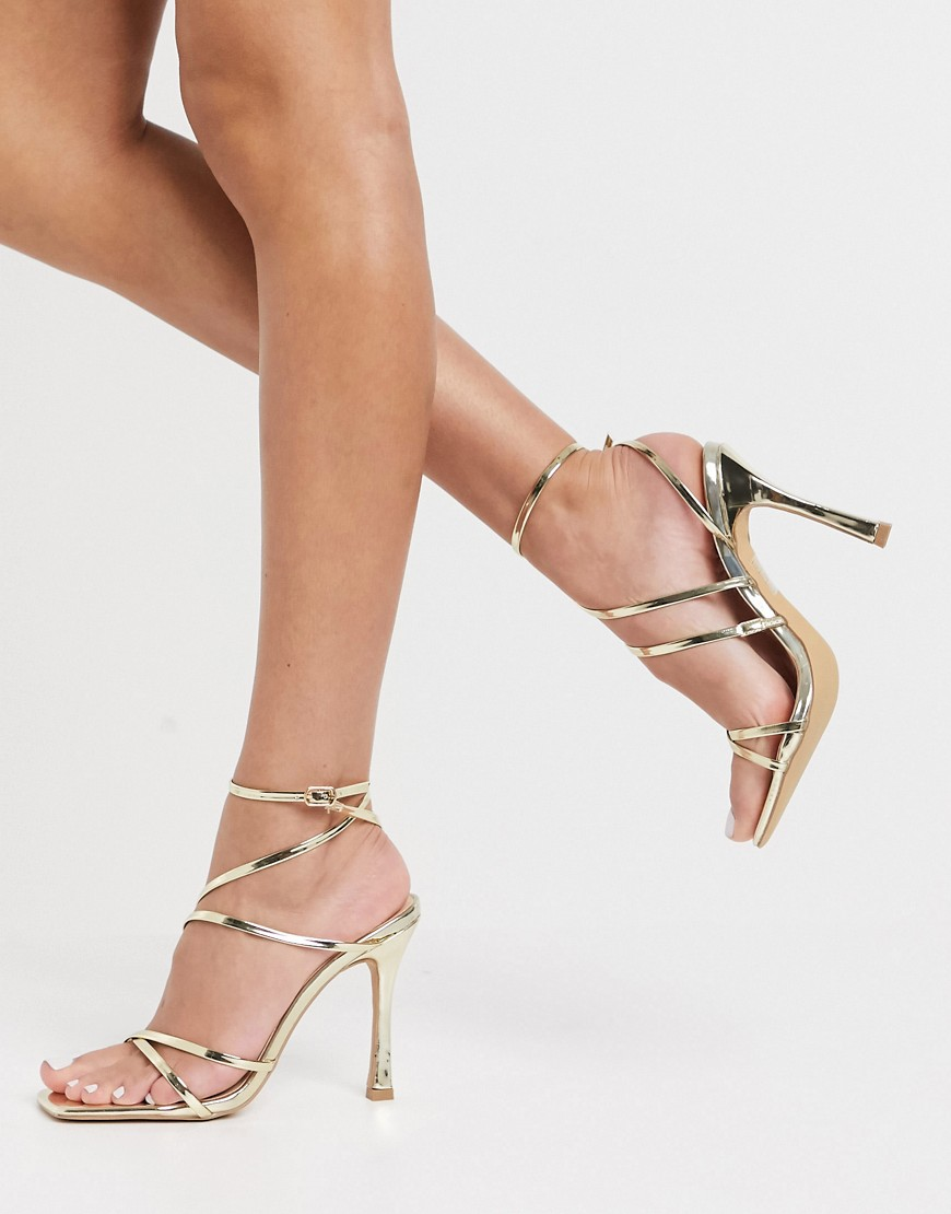 London Rebel strappy heeled sandals in gold