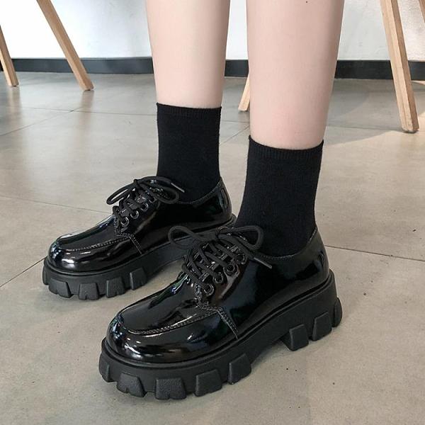 同款松糕厚底小皮鞋女正韓百搭英倫風圓頭繫帶漆皮鞋-Milano米蘭