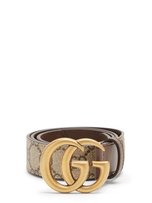 Gucci - GG Marmont Supreme And Leather Belt - Womens - Brown Multi