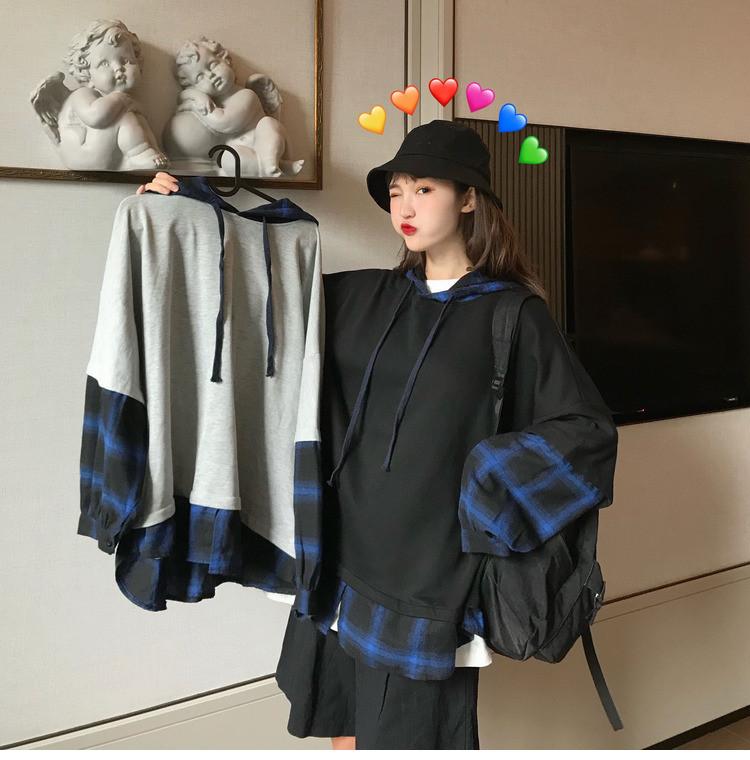 長袖帽T 簡約oversize百搭大學T假兩件長袖 格子拼接上衣個性cec長袖T恤女