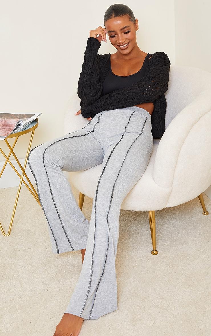 Grey Overlock Seam Detail Flared Pants
