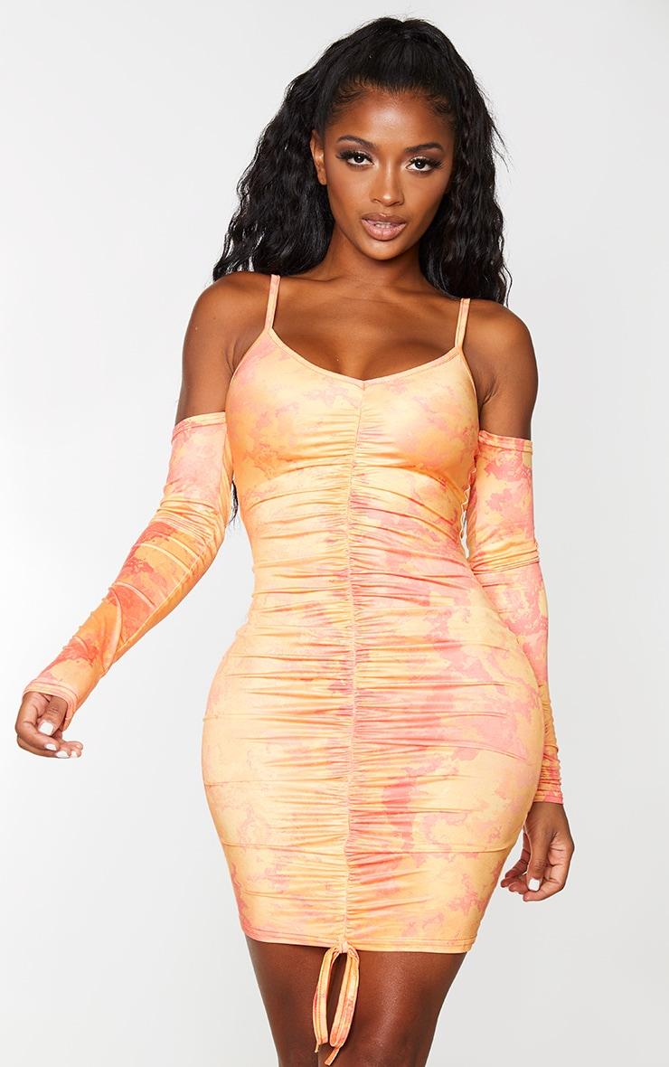 Shape Orange Tie Dye Slinky Cut Out Ruched Bodycon Dress
