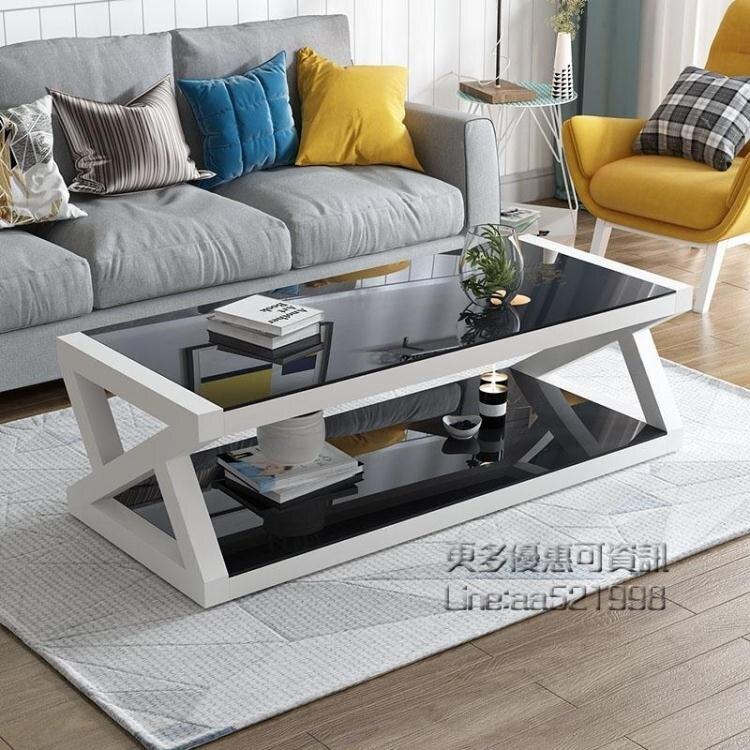 【快速出貨】邊櫃價現代簡易黑色鋼化玻璃茶幾桌子電視櫃組合簡約客廳歐式小戶型創時代3C 交換禮物 送禮