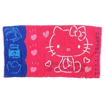 〔小禮堂〕Hello Kitty 純棉枕頭巾《紅藍.46x63cm》枕套.枕巾.防臭抗菌加工