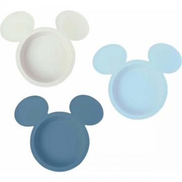 〔小禮堂〕米奇 日製兒童大臉造型塑膠碗組《3入.藍米》飯碗.點心盤