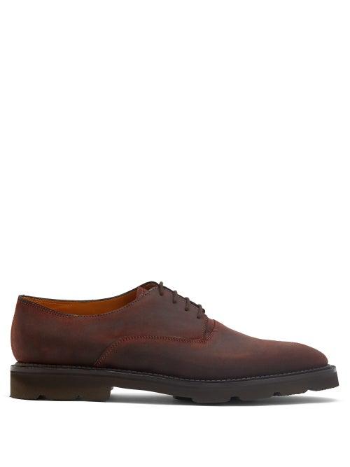 John Lobb - Milton Waxed-suede Derby Shoes - Mens - Dark Brown