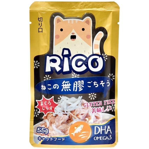 【寵物王國】芮可RICO無膠貓用鮮餐包(鮪魚吻仔魚口味)55g