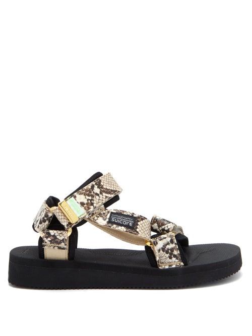 Suicoke - Depa-v2 Snake-effect Velcro-strap Sandals - Womens - White Multi