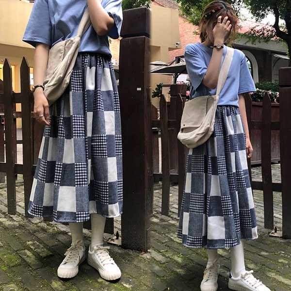 【韓國K.W.】KD2069 格紋質感女孩野餐百搭裙