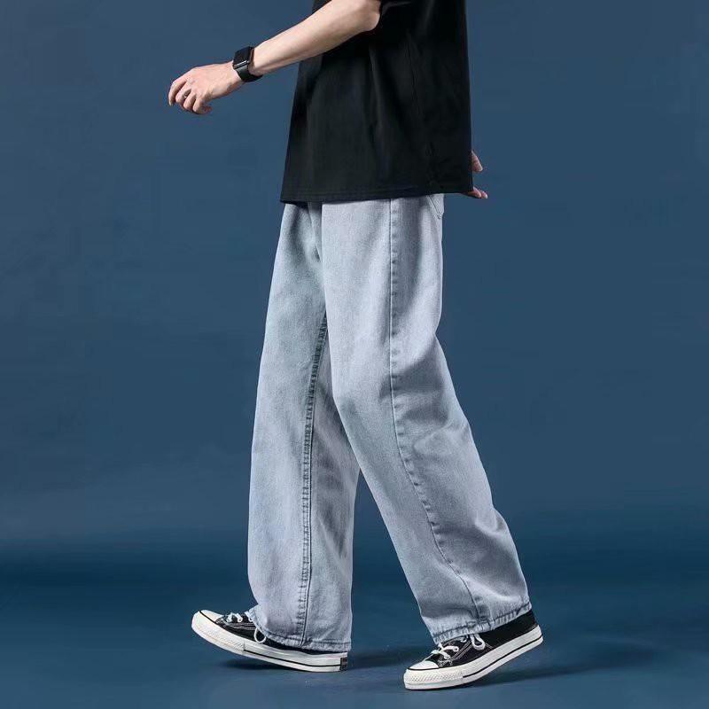 牛仔褲 薄款 直筒 寬鬆 男生褲子 韓版 潮流 闊腿 休閒長褲 (V962)【壹號站】