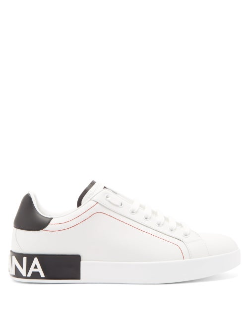 Dolce & Gabbana - Logo Leather Trainers - Mens - White Multi